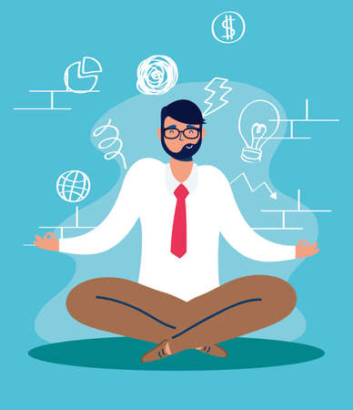 man in lotus position character vector illustration design
