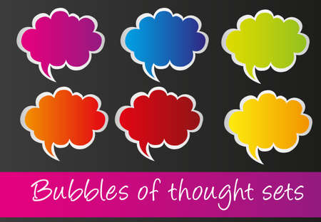 colorful thoought bubbles isolated over black background. vector
