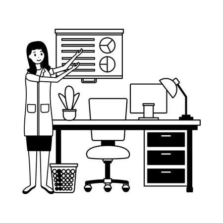 doctor woman room consultation desk computer books board presentation vector illustration