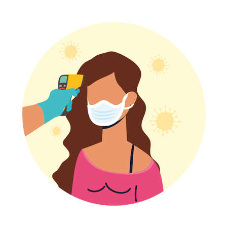 check temperature with laser thermometer to female patient vector illustration design