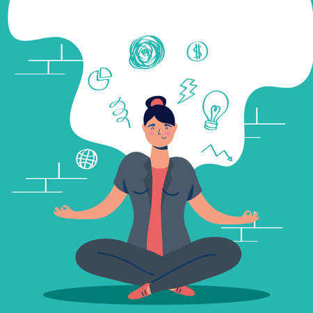 woman in lotus position with stress character vector illustration design