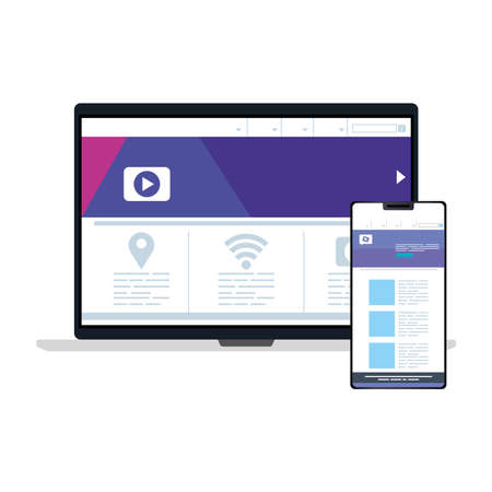 mockup, concept website development in laptop and smartphone vector illustration design