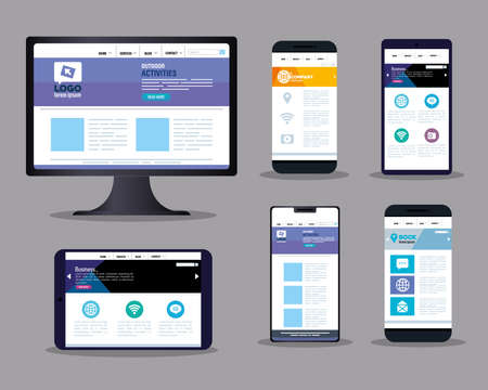 mockup responsive web, concept website development on electronics devices vector illustration design Vetores