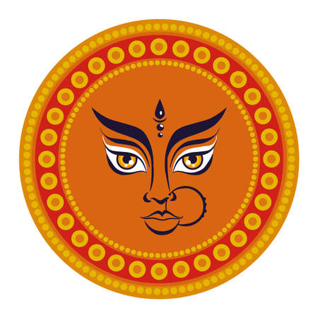 maa durga face in circle frame vector illustration design