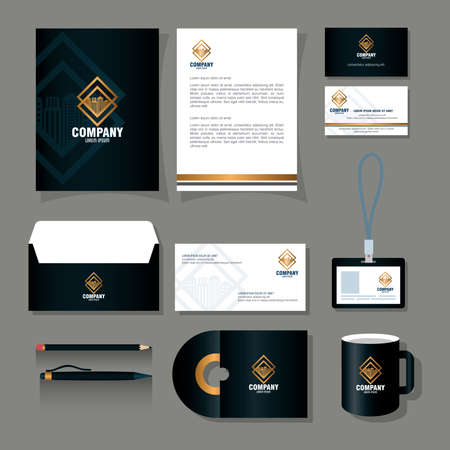 corporate identity brand mockup, stationery supplies black color with golden sign vector illustration design