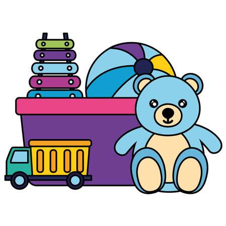 bear xylophone truck ball kids toys vector illustration Vettoriali