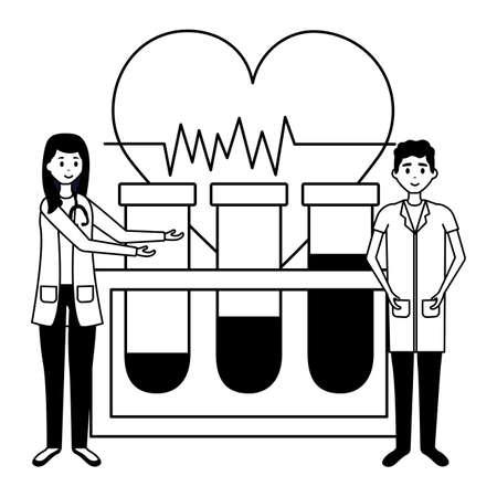 medical people test tube heartbeat vector illustration Illustration