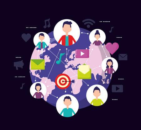 people world mobile message social media vector illustration Vetores
