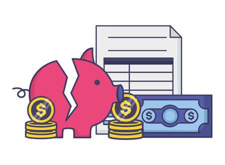 piggy money form tax time payment vector illustration Ilustração Vetorial