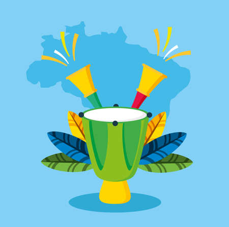 canival of brazilian celebration with bongos instruments vector illustration design Banque d'images - 153506360