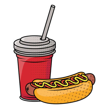 delicious hot dog with soda fast food icon vector illustration design