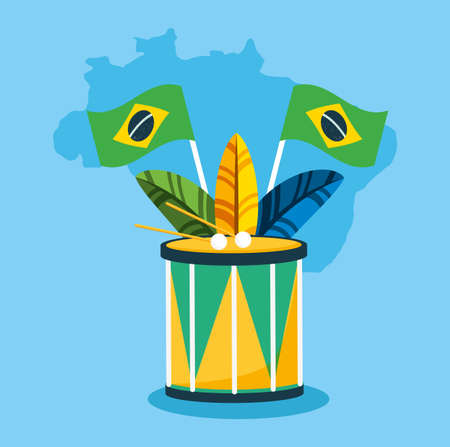 canival of brazilian celebration with drum and feathers vector illustration design
