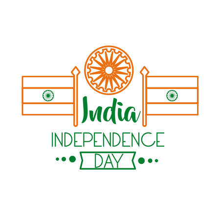 Independece day india celebration with ashoka chakra and flags line style icon vector illustration design