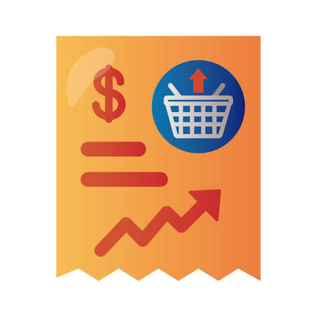 price hike receipt with arrow up infographic degradient style vector illustration design