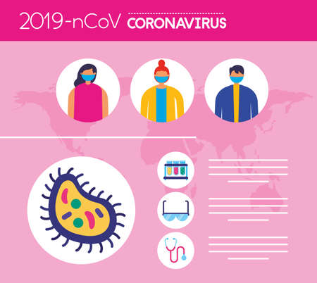 covid19 pandemic infographics with people using face masks vector illustration design Illusztráció