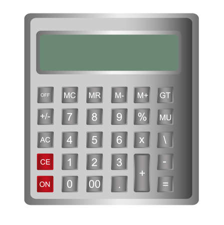 gray calculator isolated over white background. vector