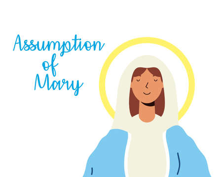 miraculous virgin assumption of mary with lettering vector illustration design