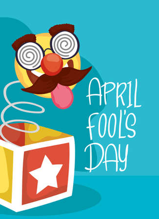 happy april fools day card with surprise box and crazy emoji vector illustration