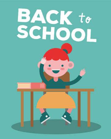 little student girl in school desks comic character vector illustration design Ilustración de vector