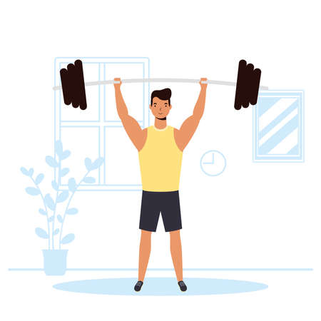 man practicing wight lifting sport activity in the house vector illustration design