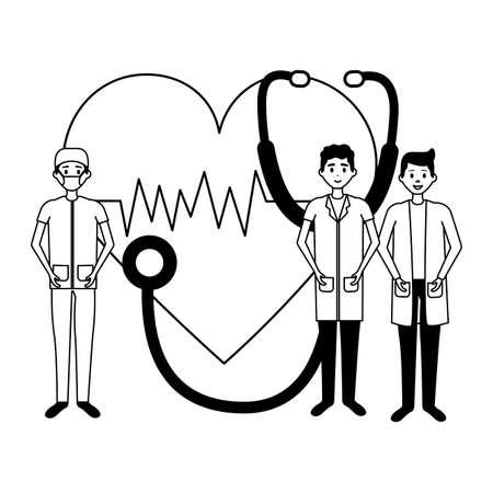 medical group men stethoscope and heartbeatvector illustration Vektoros illusztráció