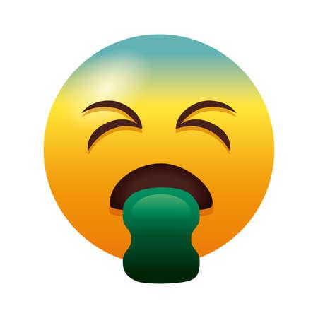 emoji sick throwing up degradient style vector illustration design