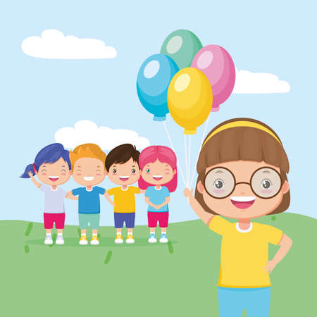 girl with balloons and group kids zone vector illustration