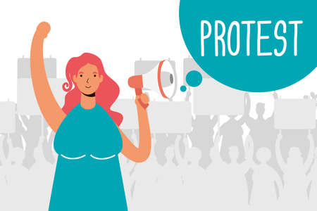 woman protesting with megaphone character vector illustration design