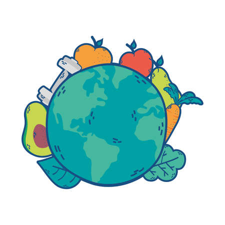 world planet earth with healthy icons vector illustration design