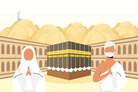 Hajj pilgrimage with couple in kaaba scene vector illustration design 일러스트