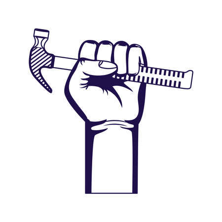 hand with hammer tool equipment isolated iconvector illustration design