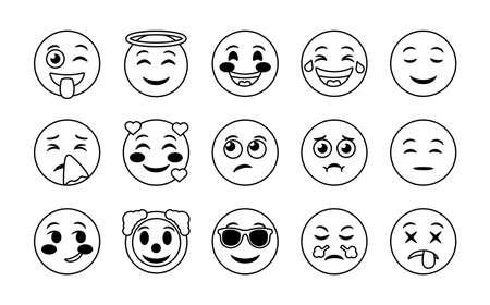 bundle of emojis faces set icons vector illustration design  イラスト・ベクター素材