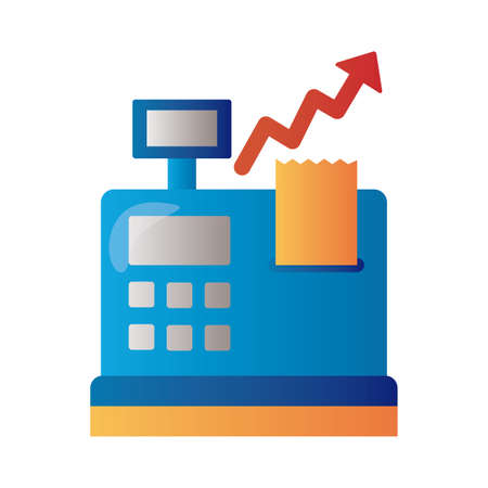 register machine with price hike arrow up infographic degradient style vector illustration design