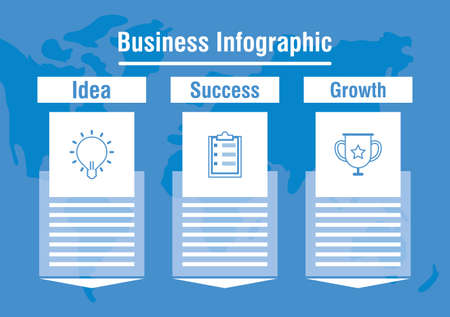 business infographic with world planet vector illustration