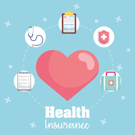 health insurance service with heart cardio vector illustration design Vektoros illusztráció