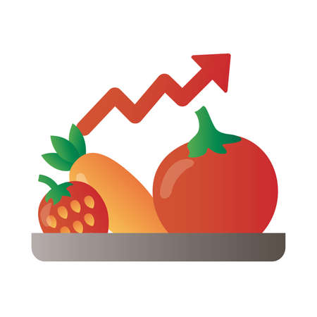 tray with fruits and vegetables price hike arrow up degradient style vector illustration design