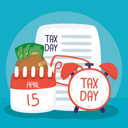 tax day with alarm clock and receipt vector illustration design Vectores