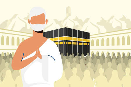 Hajj pilgrimage with man in kaaba scene vector illustration design Vettoriali