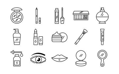 bundle of fifteen make up cosmetics set icons vector illustration design