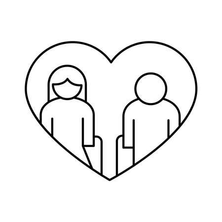 grandparents couple in heart avatars line style icon vector illustration design