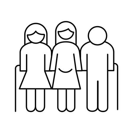grandparents couple and mother pregnancy avatars line style icon vector illustration design Illustration