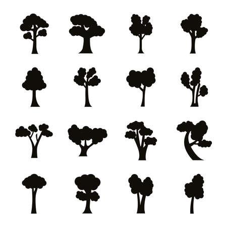 bundle of sixteen trees set collection icons vector illustration design Vektorgrafik