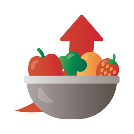 bowl with fruits and vegetables price hike arrow up degradient style vector illustration design
