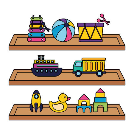 drum ball xylophone truck boat duck rocket castle in shelf kids toys vector illustration
