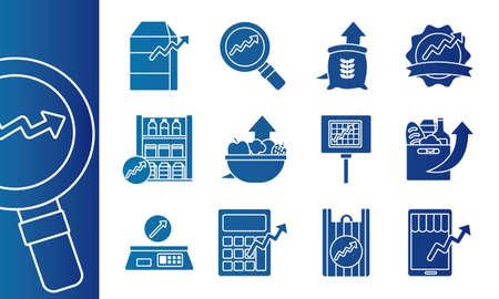bundle of price hike set icons vector illustration design