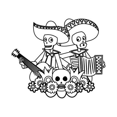 mexican mariachis skulls playing guitar and accordion vector illustration design Vectores
