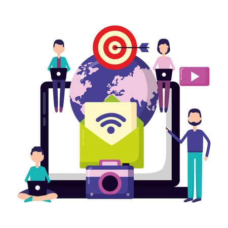 people laptop world email photo target social media vector illustration