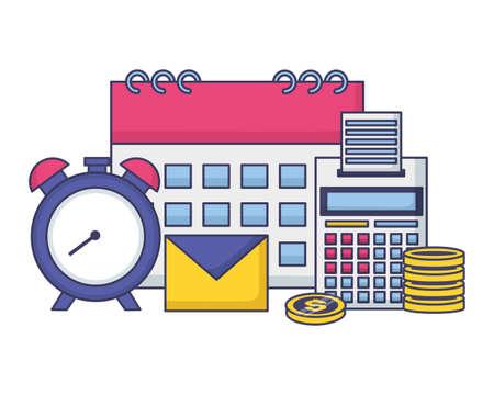clock calendar calculator money tax time payment vector illustration