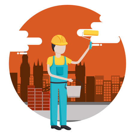 worker construction tool city background vector illustration