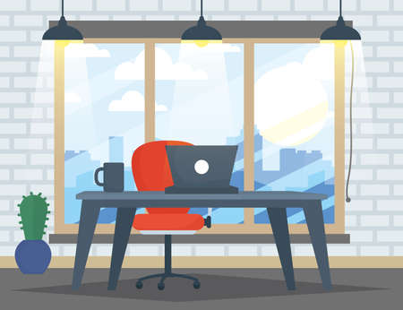 office workplace with laptop scene vector illustration design